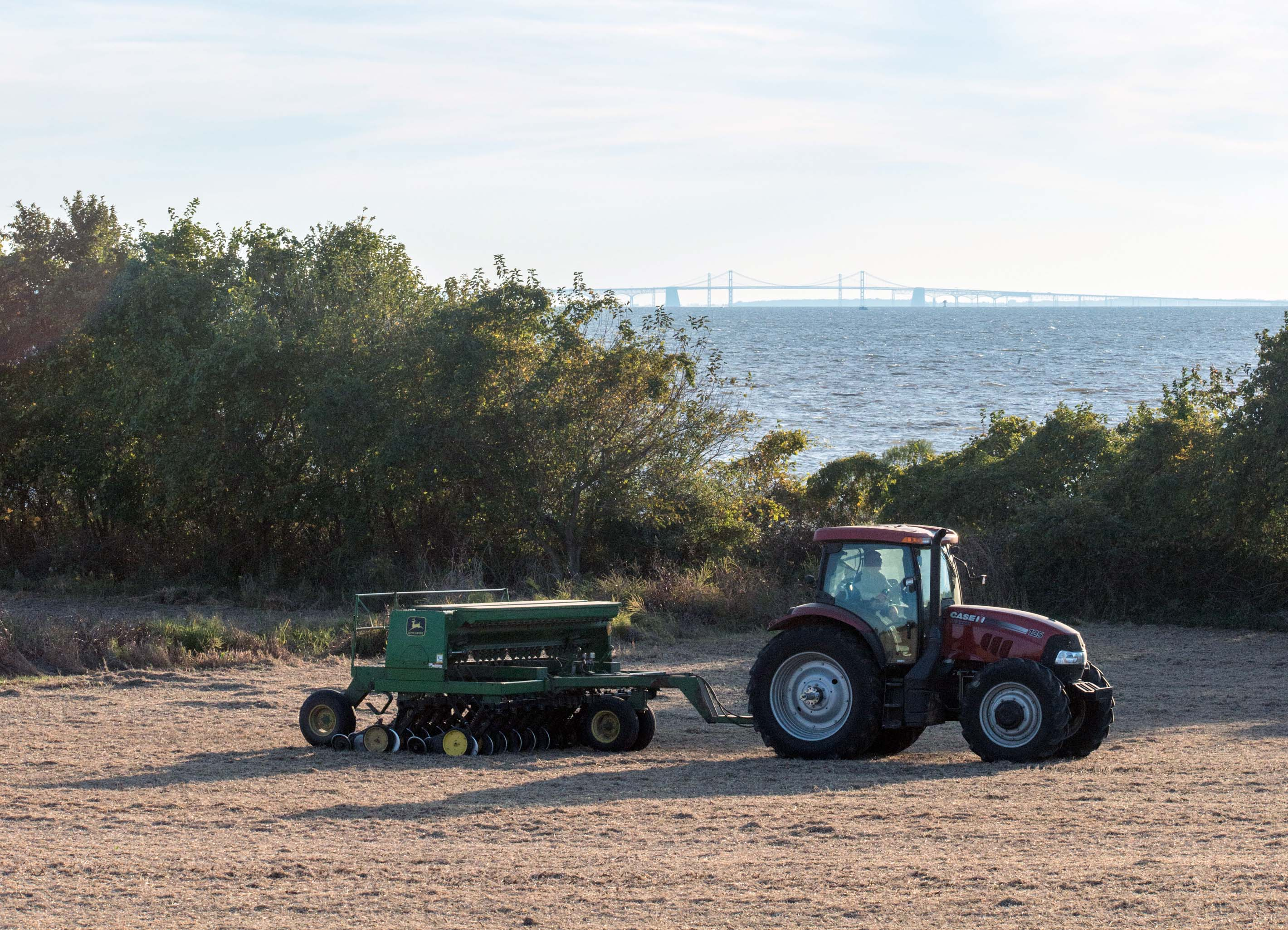 Copyright EdwinRemsberg Tractor Next to Bay